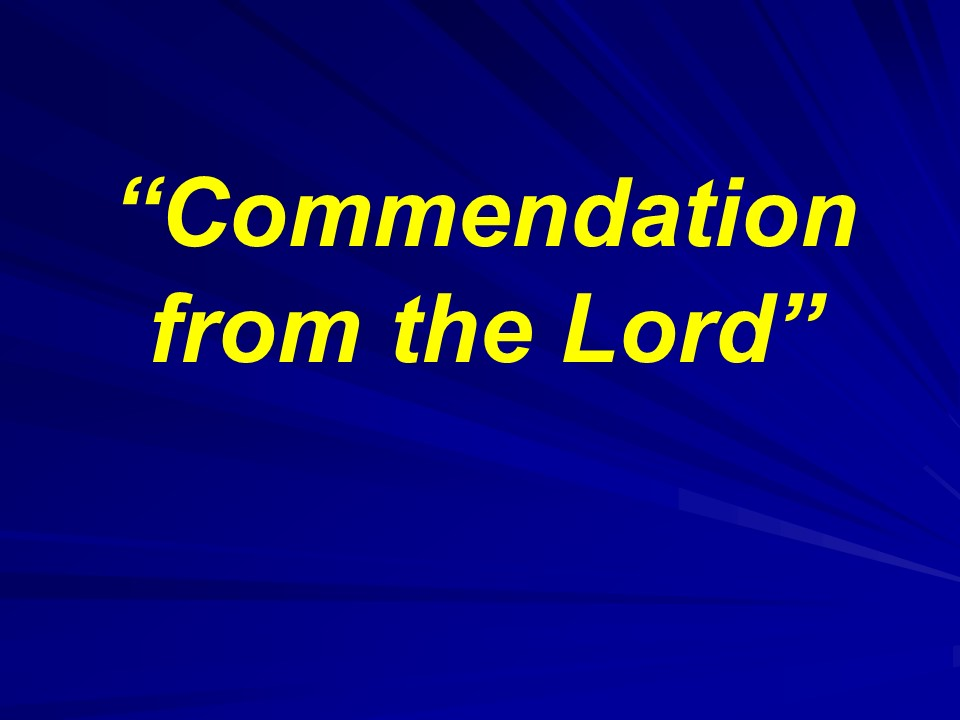 Commendation from the Lord - PM